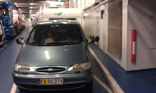 Ombord på færgen lige inden vi lægger til i Rødby,, Yes kun 80 km hjem.