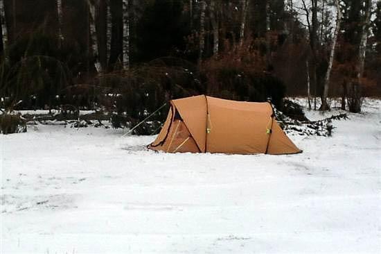 Mit telt midt i sneen