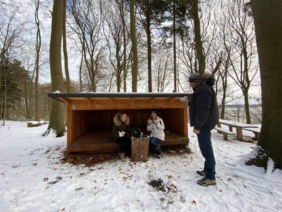 hyggeligt med en pause i et tomt shelter midt i skoven